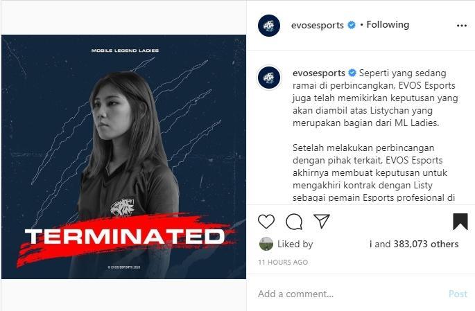 EVOS mengakhiri kontrak dengan Listy Chan. (instagram/evosesports)