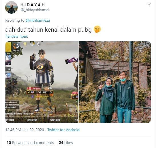 Netizen menceritakan pengalaman yang sama ketika bertemu gebetan lewat PUBG Mobile. (Twitter/ _hidayahkamal)