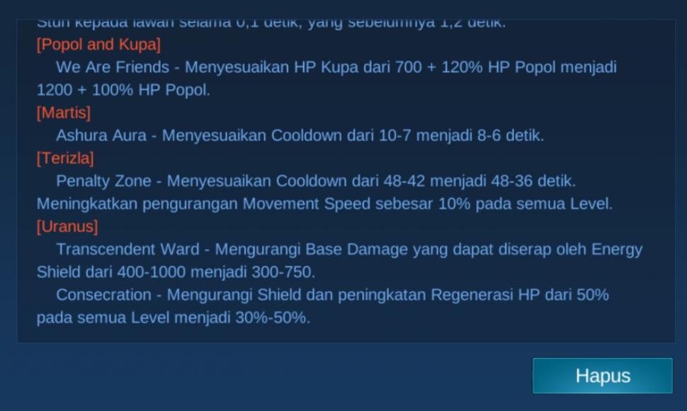 Update terbaru Mobile Legends patch 1.4.98. (HiTekno.com)