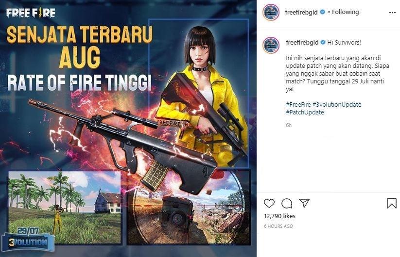 Senjata AUG hadir pada update anyar Free Fire.  (Instagram/ freefirebgid)