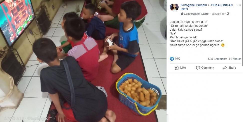 Postingan mengenai kisah anak penjual singkong goreng ini viral di Facebook. (Facebook/ Kurogane Tsubaki)