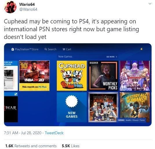 Wario64 membocorkan bahwa Cuphead akan datang ke PS4. (Twitter/ Wario64)