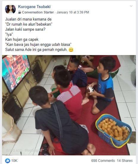 Bocah cilik yang berjualan singkong goreng ini bikin netizen salut. (Facebook/ Kurogane Tsubaki)