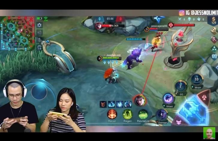 Jess No Limit main Mobile Legends bareng Jessica Jane. (youtube/Jess No Limit)