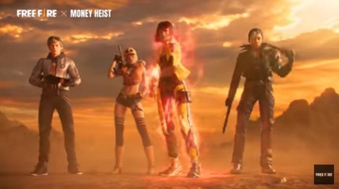 Kolaborasi Free Fire dan Money Heist. (youtube/Free Fire Official)