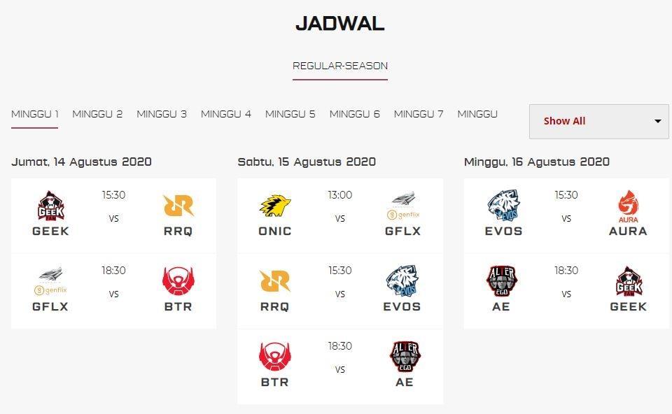 Jadwal MPL Season 6 Week 1. (id-mpl.com)