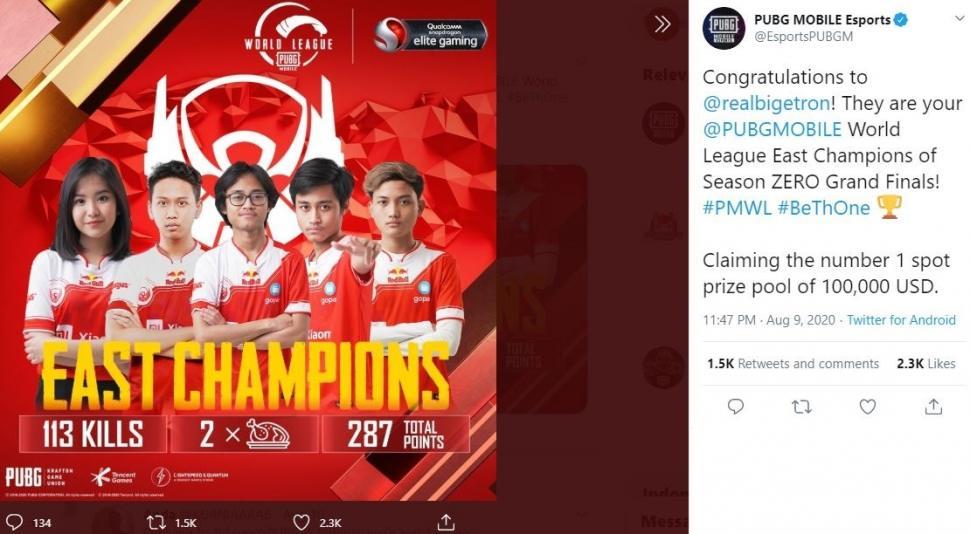 Bigetron juara dunia PMWL East Season 0. (Instagram/ pubgmobile.esports.id)