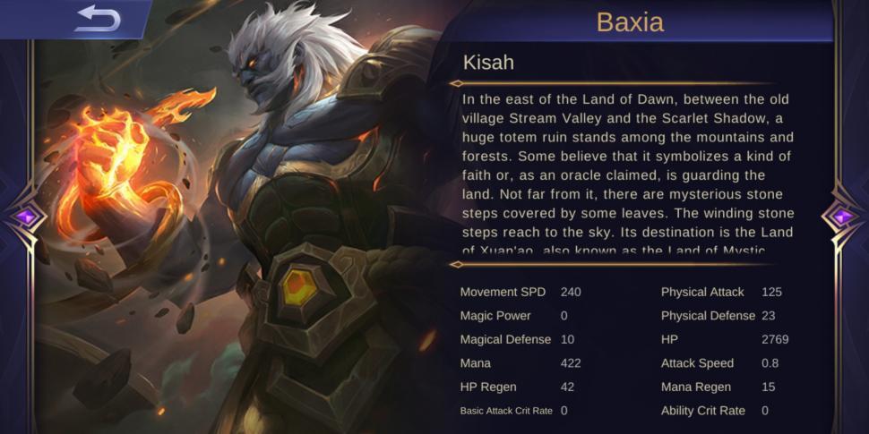 Deskripsi Hero Baxia Mobile Legends. (HiTekno/ Rezza Rachmanta)