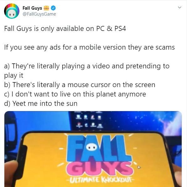 Fall Guys segera jadi game mobile. (twitter/FallGuysGame)