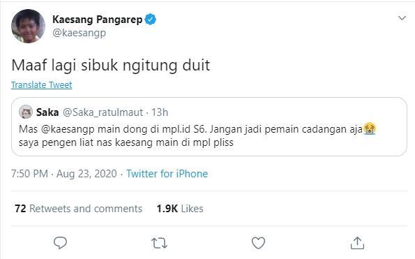 Kaesang Pangarep main di MPL Indonesia Season 6. (twitter/kaesangp)