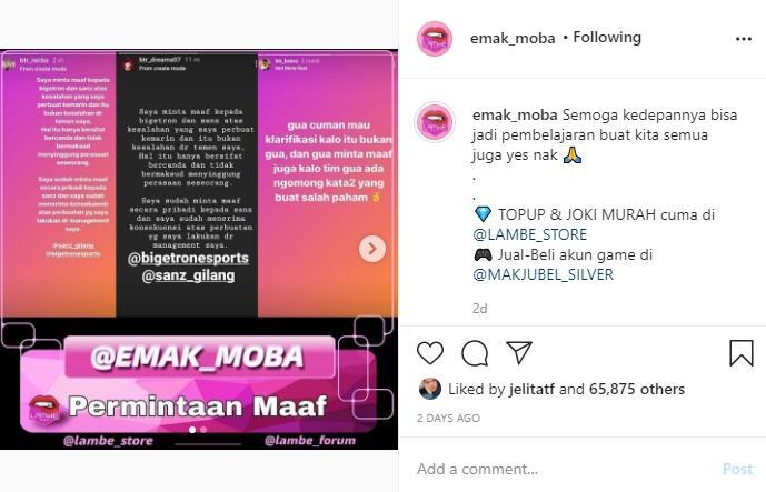 Permintaan Maaf tiga pemain Bigetron Alpha. (instagram/emak_moba)