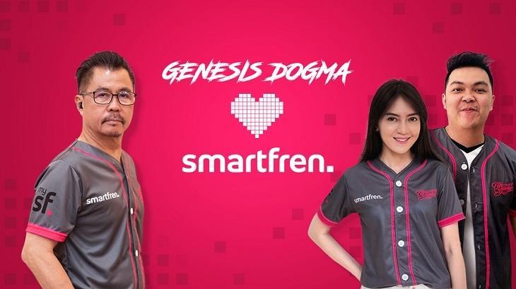 Djoko Tata Ibrahim, Deputy CEO Smartfren bersama Grace Blessing dan Bangpen, selaku Co- Founder Genesis Dogma. (dok. Smartfren)