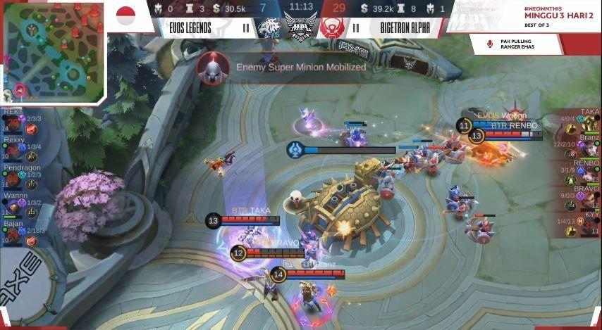 Game pertama Bigetron Alpha vs EVOS Legends dimenangkan oleh BTR dengan skor 07 vs 29 untuk kemengan BTR. (YouTube/ MPL Indonesia)