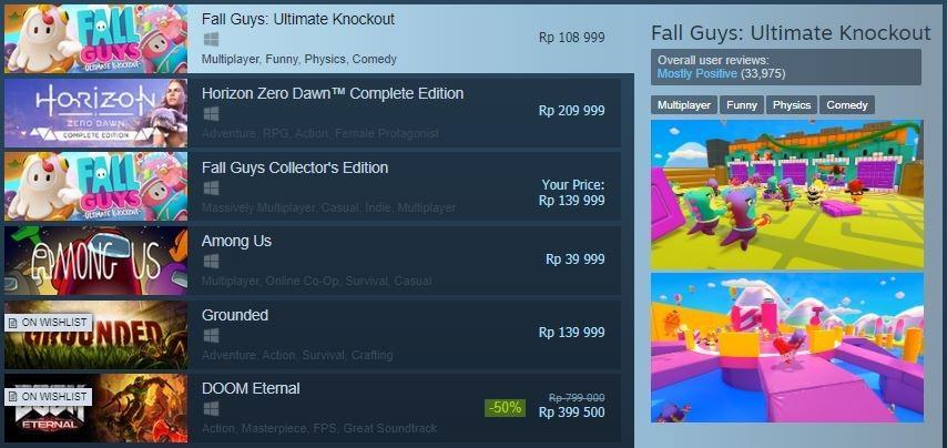 Fall Guys puncaki chart game PC di Steam. (Steam)