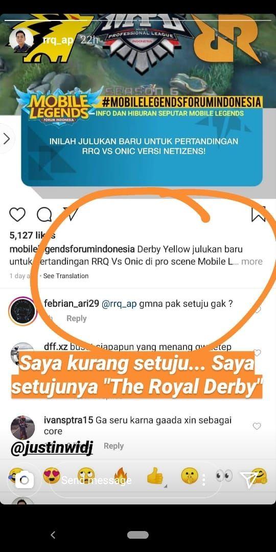 CEO RRQ tidak setuju dengan sebutan Derby Yellow. (Instagram/ rrq_ap)