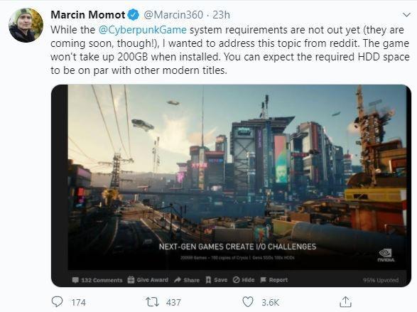 Kabar Cyberpunk 2077 tidak akan sampai 200 GB. (Twitter/ Marcin360)