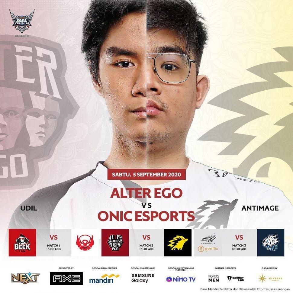 Ilustrasi pertandingan Alter Ego vs ONIC. (Instagram/ mpl.id.official)