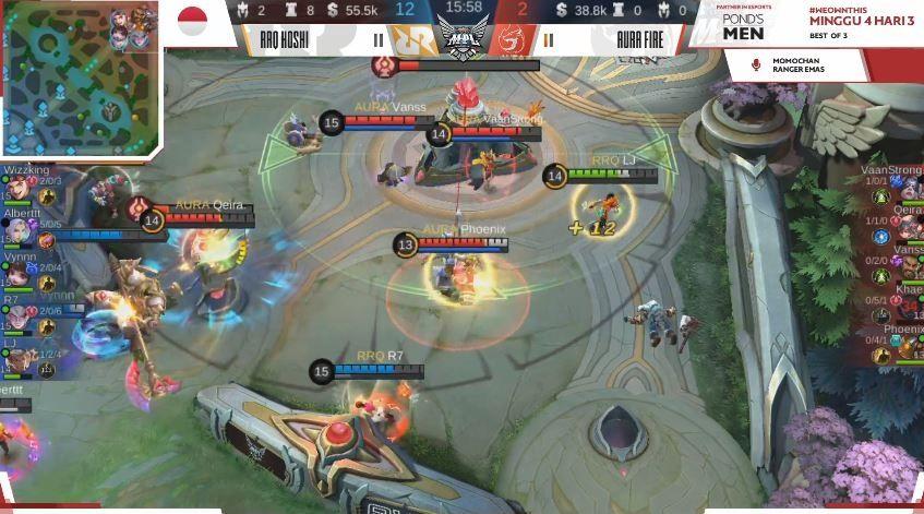 Game kedua Aura Fire vs RRQ Hoshi dimenangkan RRQ  dengan skor Kill 12 vs 2. (YouTube/ MPL Indonesia)A