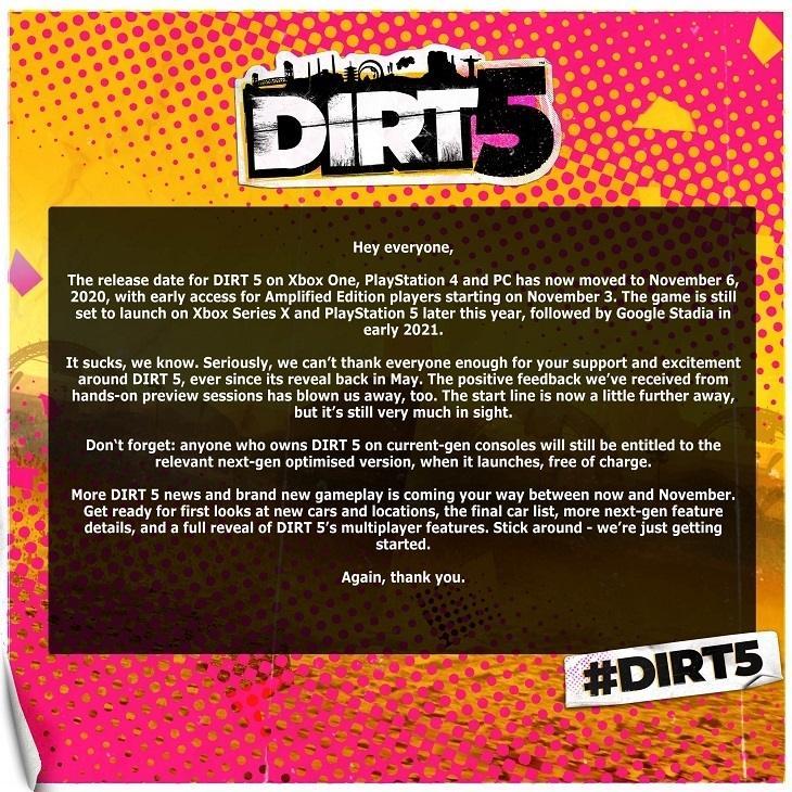 Pengumuman penundaan rilis Dirt 5. (Codemasters)