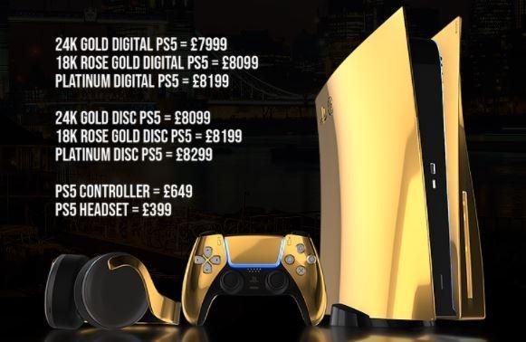 Daftar harga PS5 berlapis emas. (Truly Exquisite)