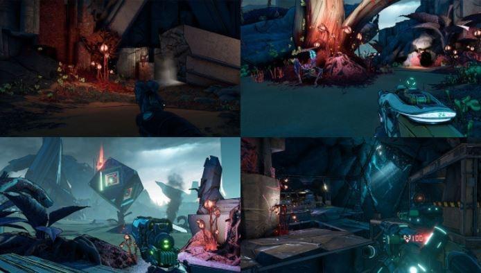Fitur split screen empat pemain pada Borderlands 3. (Gearbox Software)
