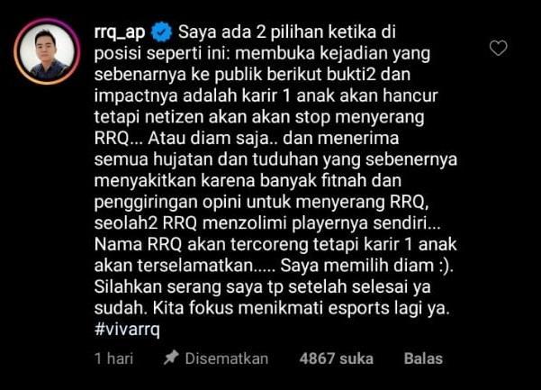 Rehatnya Xinn dari RRQ. (Instagram)