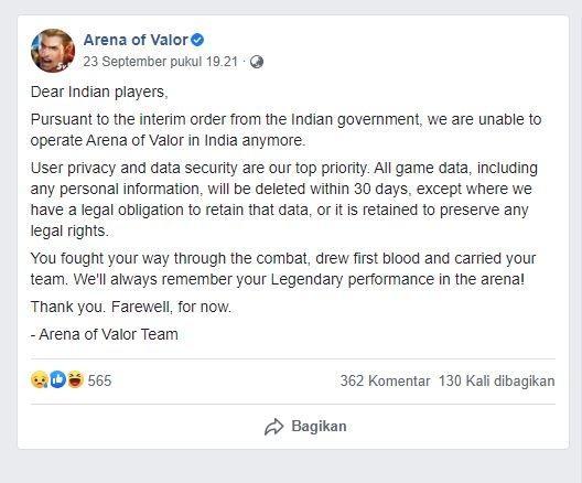 Pernyataan AOV terkait banned pemerintah India. (Facebook/ Arena of Valor)