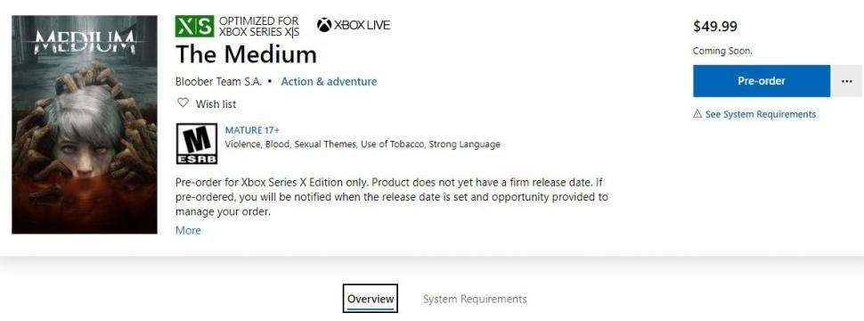 Pre-order game horor The Medium untuk Xbox Series X. (Xbox Store)