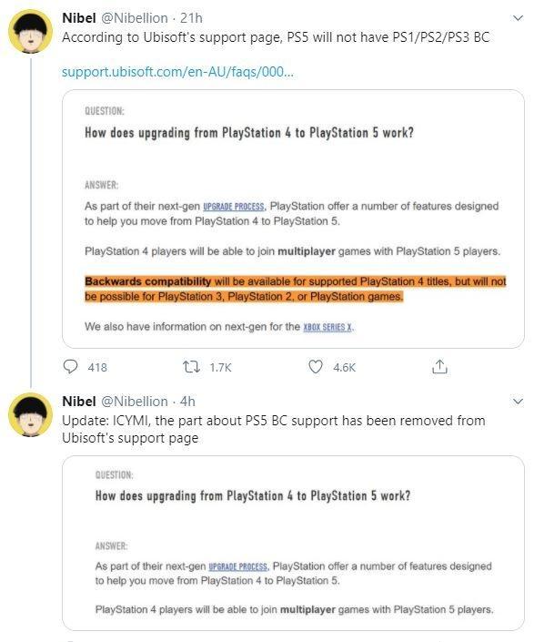 Bocoran Backwards Compatibility PlayStation 5 dari Ubisoft. (Twitter/ Nibellion)