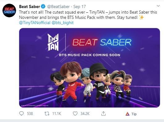 Game Beat Saber dan BTS. (Twitter/@BeatSaber)