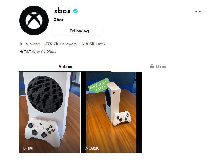 Hingga 24 September 2020, akun resmi Xbox di TikTok baru mengunggah 2 video. (TikTok/ @xbox)