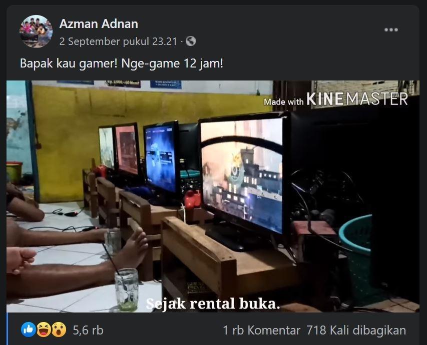 Main game di rental PS sampai 12 jam. (Facebook/ Azman Adnan)