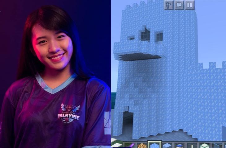 Celine JKT48 bangun istana es di Minecraft. (kolase Twitter/ Celine_JKT48)
