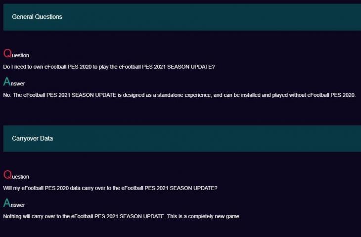 Penjelasan Konami pada PES 2021. (Konami)