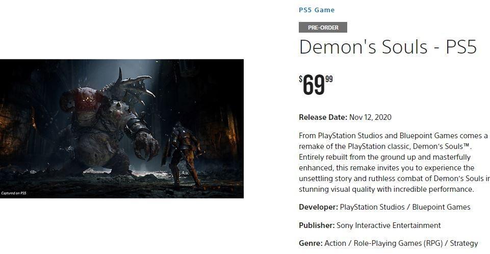 Pre-order game Demon's Souls. (PlayStation)