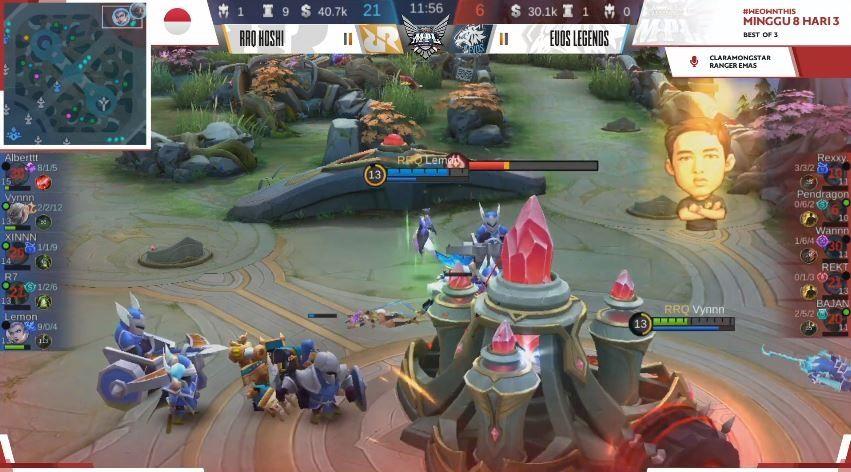 Game ketiga EVOS vs RRQ dimenangkan Sang Raja dengan skor 21 vs 6. (YouTube/ MPL Indonesia)