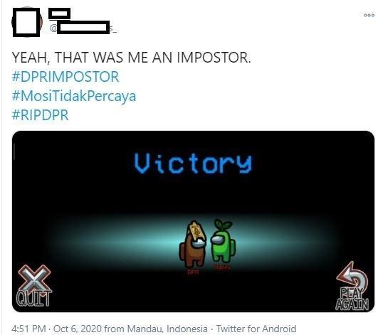Meme game Among Us untuk mengkritisi Omnibus Law. (Twitter)