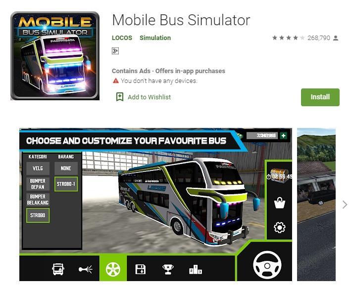 Mobile Bus Simulator. (Google Play Store)