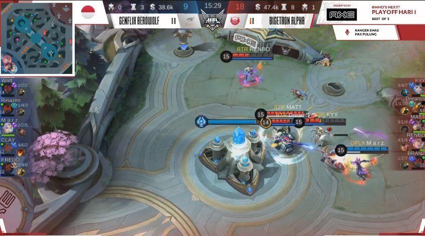 Game kedua Bigetron Alpha vs Genflix Aerowolf dimenangkan Sang Robot dengan skor 18 vs 9.  (YouTube/ MPL Indonesia)