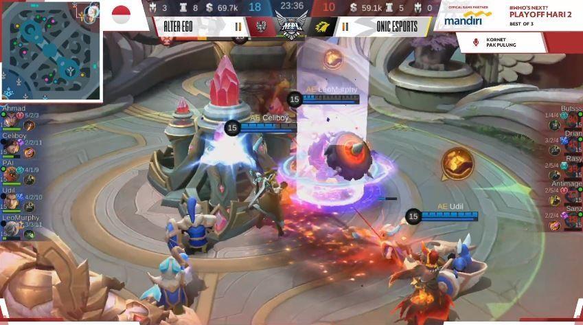 Game ketiga Alter Ego vs ONIC dimenangkan ONIC dengan skor 18 vs 10 di menit ke-23. (YouTube/ MPL Indonesia)