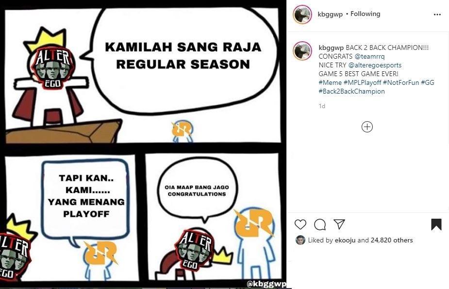 Meme RRQ. (Instagram/ kbggwp)