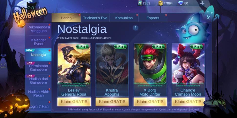Event Nostalgia Mobile Legends menghadirkan hadiah skin gratis. (HiTekno.com)