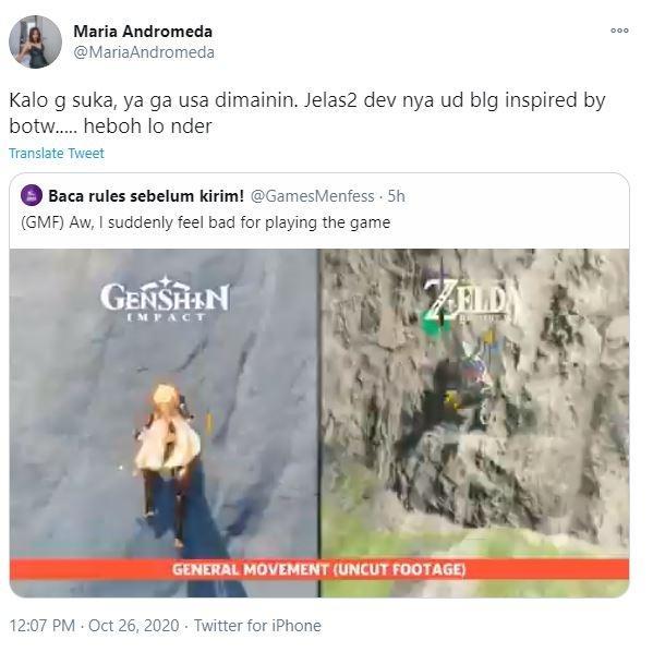 Kemiripan Genshin Impact dengan The Legend of Zelda BOTW Picu Perdebatan. (Twitter)