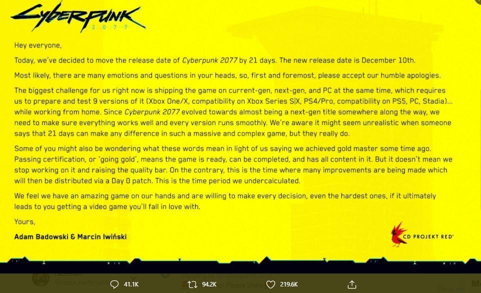 Pernyataan resmi bahwa game Cyberpunk 2077 ditunda lagi. (Twitter/ CyberpunkGame)