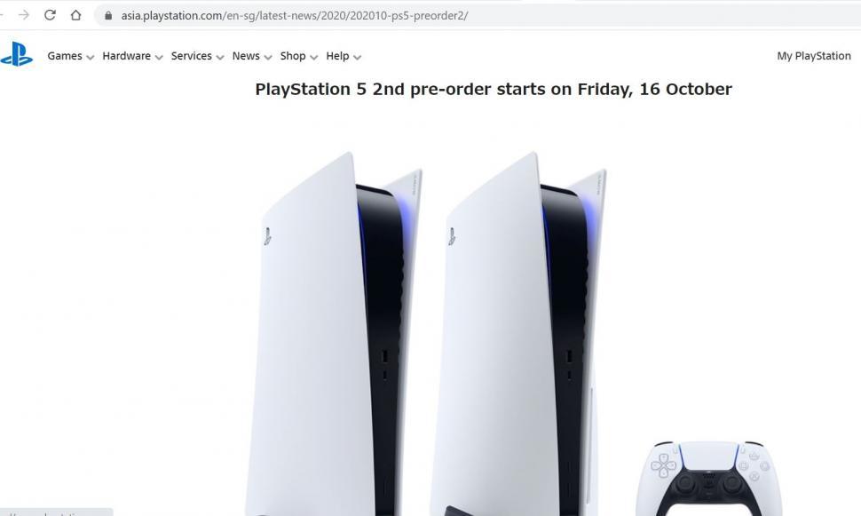 Pre-order gelombang kedua PlayStation 5 di Singapura. (PlayStation Asia)