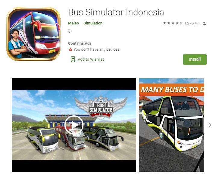 Bus Simulator Indonesia. (Google Play Store)