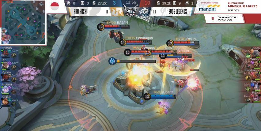 Game pertama EVOS vs RRQ dimenangkan Macan Putih dengan skor 10 vs 3. (YouTube/ MPL Indonesia)
