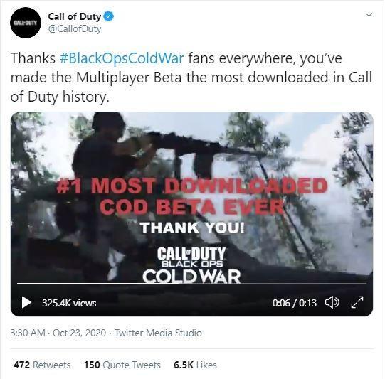 Pengumuman Black Ops Cold War jadi seri Call of Duty beta yang paling banyak diunduh. (Twitter/ CallofDuty)