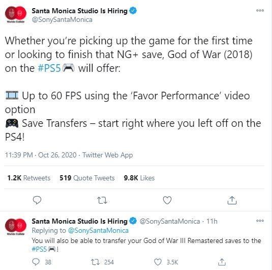 God of War bisa berjalan pada 60 fps di PS5. (Twitter/ SonySantaMonica)