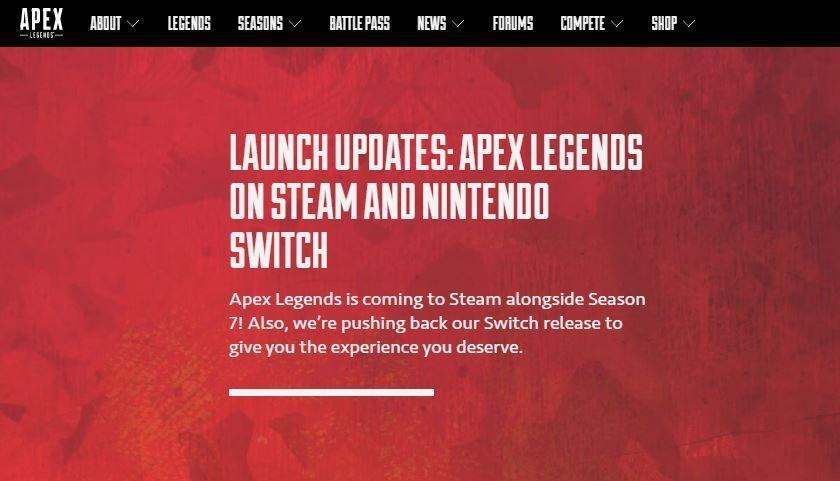 Pengumuman mengenai penundaan perilisan Apex Legends di Switch. (EA.com)